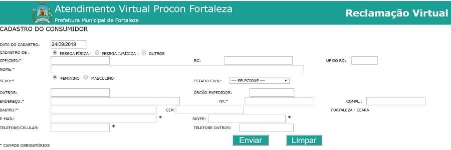 Cadastro no site do Procon Fortaleza